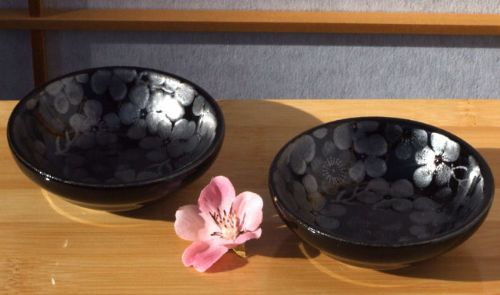 Canapé sauce sushi condiment dishes black silver plum blossom set of 2